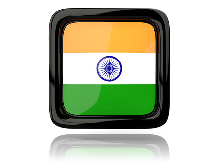 india 3d: Square icon with flag of india. 3D illustration