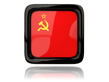 ussr: Square icon with flag of ussr. 3D illustration