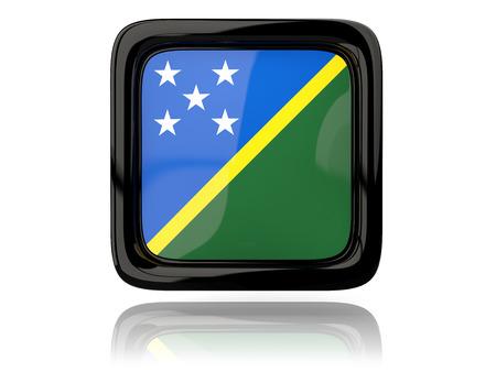 solomon: Square icon with flag of solomon islands. 3D illustration