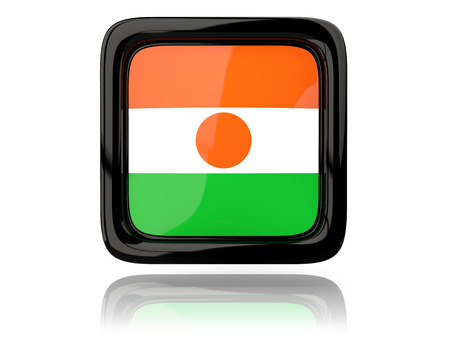 niger: Square icon with flag of niger. 3D illustration