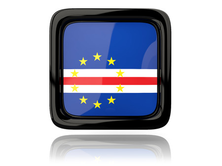 cape verde: Square icon with flag of cape verde. 3D illustration