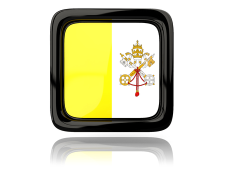 vatican city: Square icon with flag of vatican city. 3D illustration