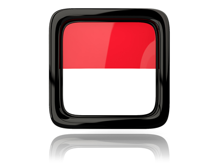monaco: Square icon with flag of monaco. 3D illustration