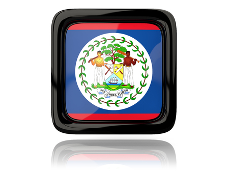 belize: Square icon with flag of belize. 3D illustration