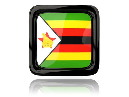 zimbabwe: Square icon with flag of zimbabwe. 3D illustration