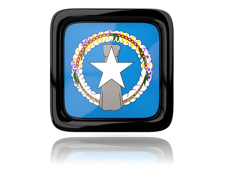 mariana: Square icon with flag of northern mariana islands. 3D illustration