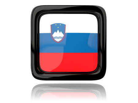 slovenia: Square icon with flag of slovenia. 3D illustration