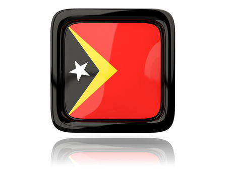 timor: Square icon with flag of east timor. 3D illustration
