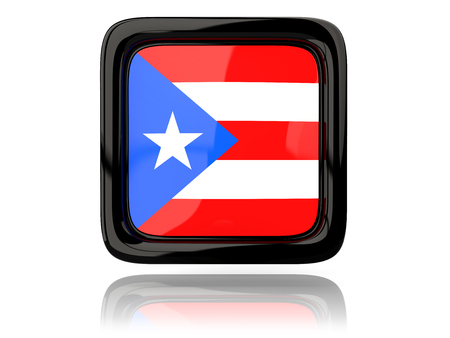 bandera de puerto rico: icono cuadrado con la bandera de Puerto Rico. ilustración 3D