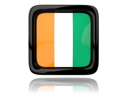 cote ivoire: Square icon with flag of cote d Ivoire. 3D illustration Stock Photo
