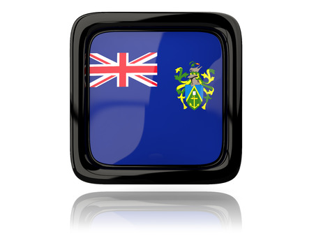 pitcairn: Square icon with flag of pitcairn islands. 3D illustration Stock Photo