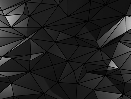 steel industry: Black background with triangle elements. 3D illustration