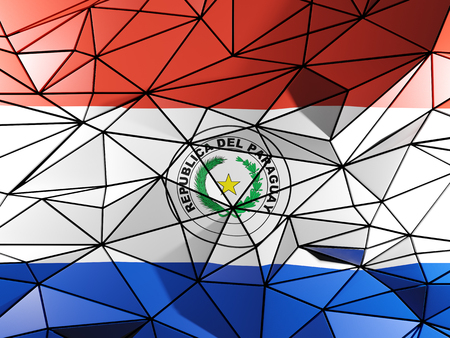 paraguay: Triangle background with flag of paraguay Stock Photo