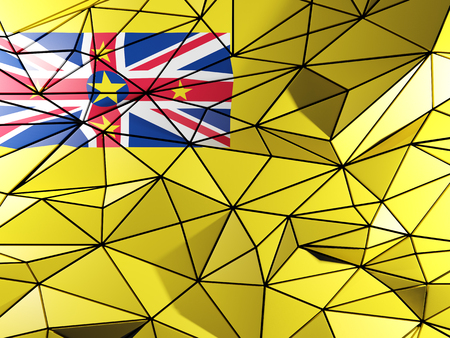 niue: Triangle background with flag of niue