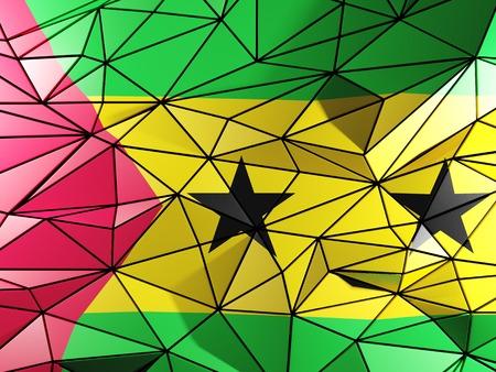 principe: Triángulo de fondo con la bandera de Santo Tomé y Príncipe