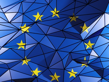 Triangle background with flag of european union