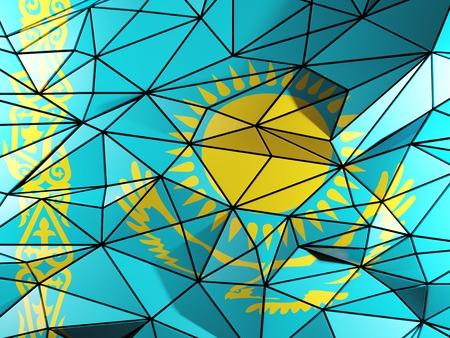 kazakhstan: Triangle background with flag of kazakhstan Stock Photo