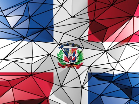 dominican republic: Triangle background with flag of dominican republic