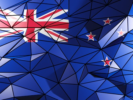 bandera de nueva zelanda: Triangle background with flag of new zealand
