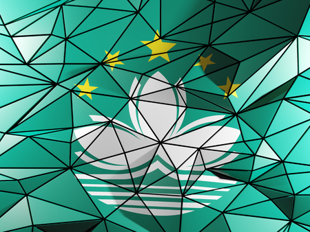 macao: Triangle background with flag of macao Stock Photo