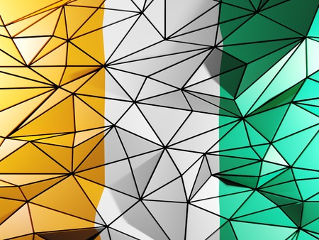 Triangle background with flag of cote d Ivoire