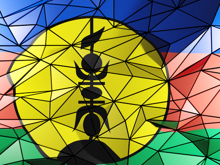 new caledonia: Triangle background with flag of new caledonia