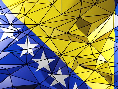 herzegovina: Triangle background with flag of bosnia and herzegovina
