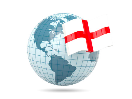 england politics: Globe with flag of england. 3D illustration