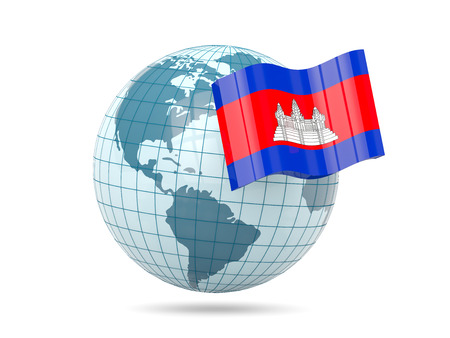 cambodia: Globe with flag of cambodia. 3D illustration