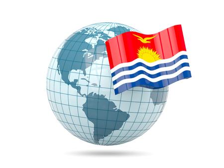 kiribati: Globe with flag of kiribati. 3D illustration