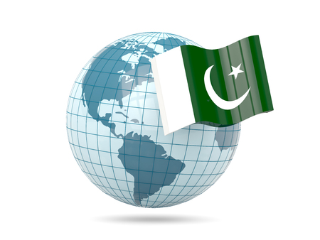 Pakistan: Globe with flag of pakistan. 3D illustration