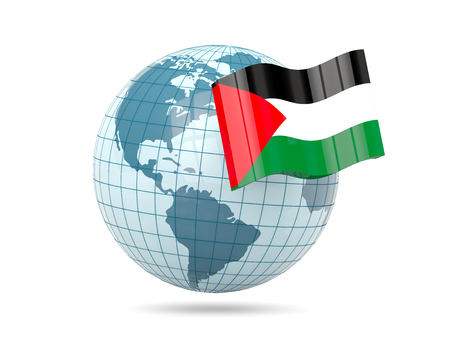palestinian: Globe with flag of palestinian territory. 3D illustration
