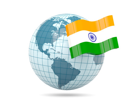india 3d: Globe with flag of india. 3D illustration Stock Photo
