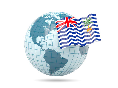indian ocean: Globe with flag of british indian ocean territory. 3D illustration