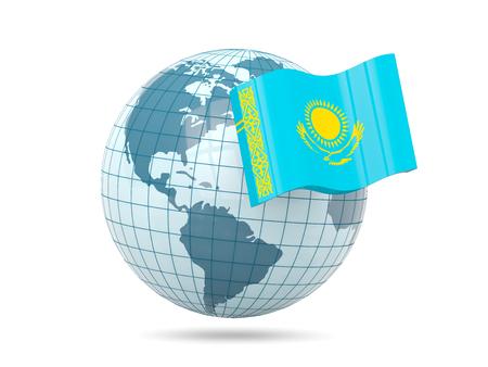 kazakhstan: Globe with flag of kazakhstan. 3D illustration