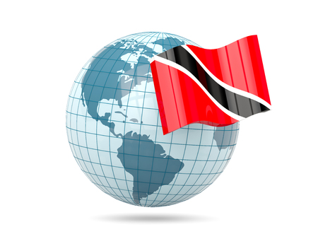 national flag trinidad and tobago: Globe with flag of trinidad and tobago. 3D illustration