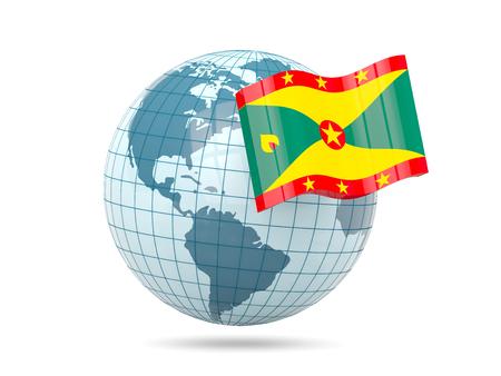 grenada: Globe with flag of grenada. 3D illustration Stock Photo