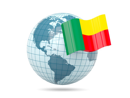 benin: Globe with flag of benin. 3D illustration