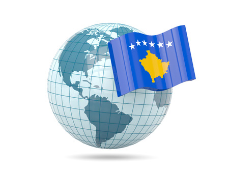 kosovo: Globe with flag of kosovo. 3D illustration