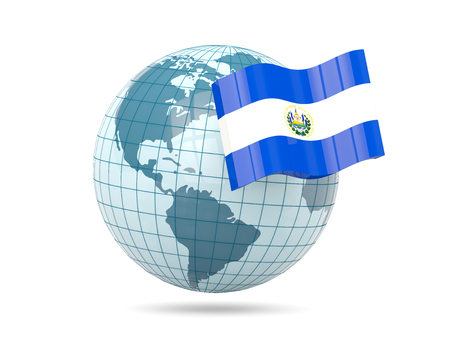 mapa de el salvador: Globe with flag of el salvador. 3D illustration Foto de archivo
