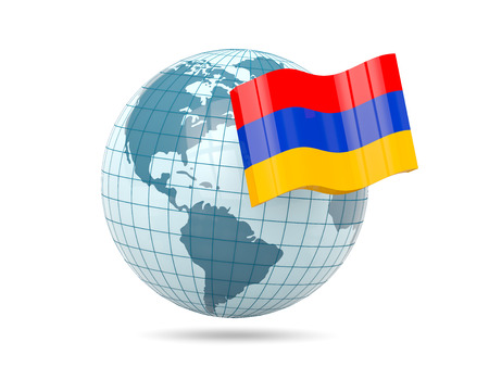 armenia: Globe with flag of armenia. 3D illustration Stock Photo