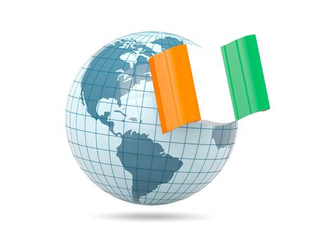 Globe with flag of cote d Ivoire. 3D illustration
