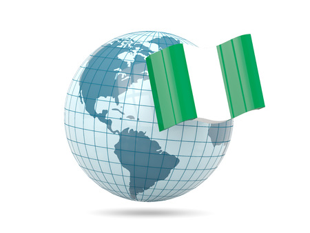 nigeria: Globe with flag of nigeria. 3D illustration Stock Photo