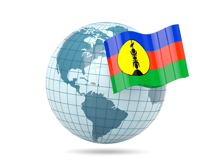 new caledonia: Globe with flag of new caledonia. 3D illustration