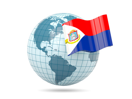 sint: Globe with flag of sint maarten. 3D illustration