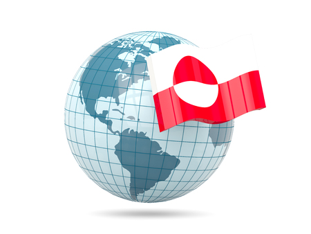 greenland: Globe with flag of greenland. 3D illustration