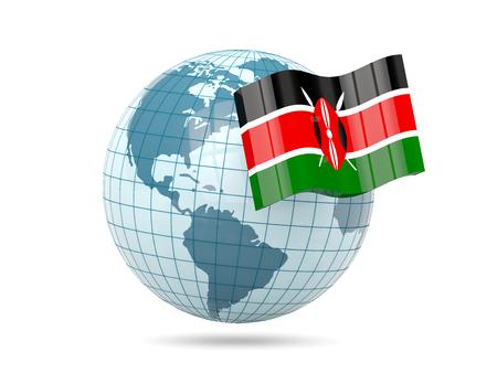 kenya: Globe with flag of kenya. 3D illustration Stock Photo