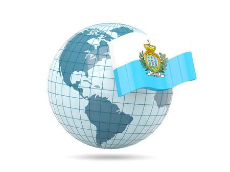 marino: Globe with flag of san marino. 3D illustration