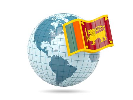 sri lanka: Globe with flag of sri lanka. 3D illustration