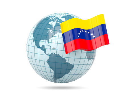 venezuela: Globe with flag of venezuela. 3D illustration